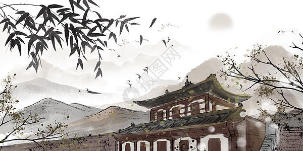 江南古镇背景图片