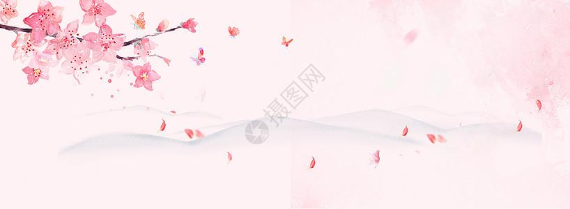 中国风桃花水墨粉色背景图片