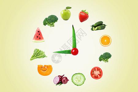 健康果蔬创意钟表图片