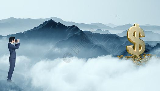 悬崖上望钱的商人图片