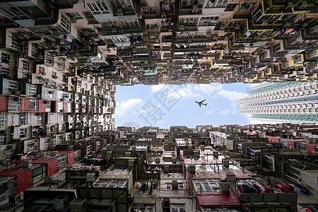 香港密集的居民区城市上空图片
