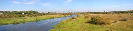 全景河流自然风景图图片