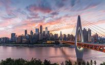 重庆城市火烧云日落风光图片