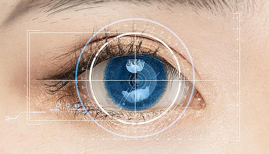 人工智能蓝色眼睛扫描图片