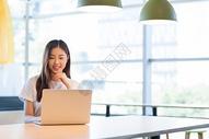 咖啡馆商务办公移动办公的职场女性图片
