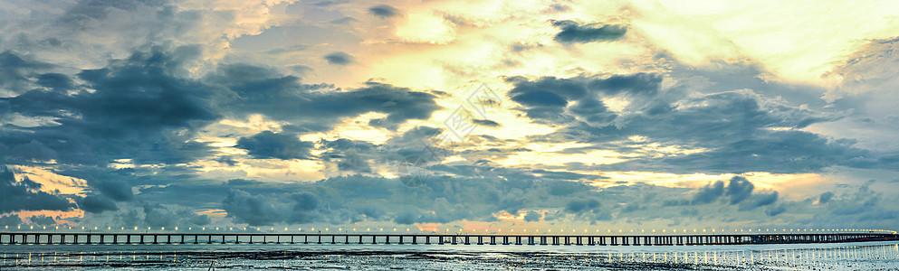 高清海湾大桥夕阳全景图片素材图片