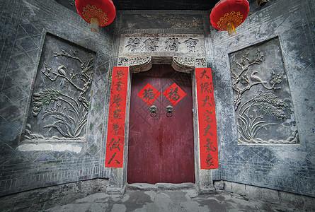 湖广会馆一角古建筑大门图片