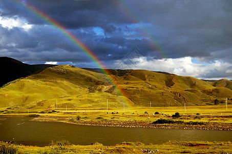 川藏路上的双道彩虹高清图片
