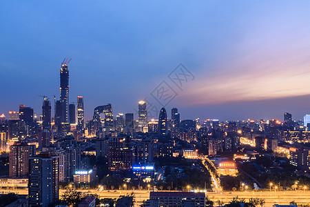 城市建筑风光夜景北京国贸CBD图片