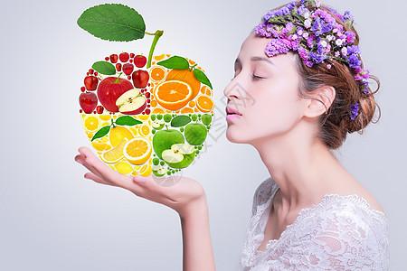 水果组成的苹果与女人图片
