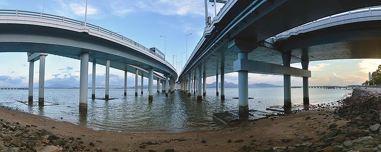 日落时候的深圳湾大桥图片
