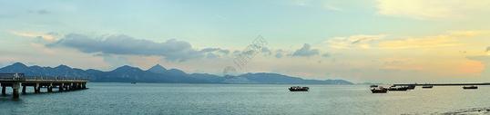 港口夕阳全景照片图片