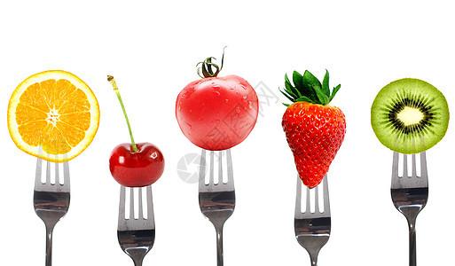 叉子与水果图片