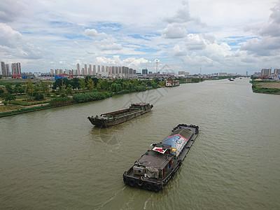 蓝天下的大运河图片