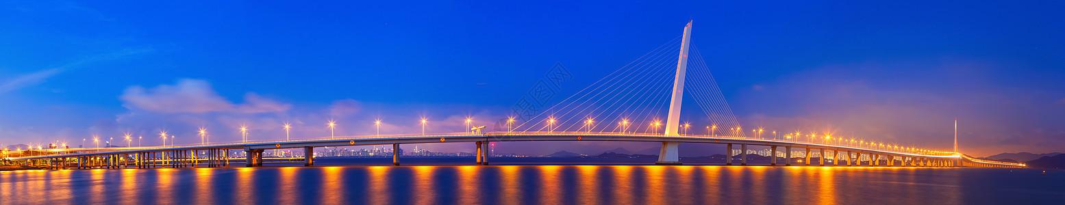 跨海大桥城市夜景图片