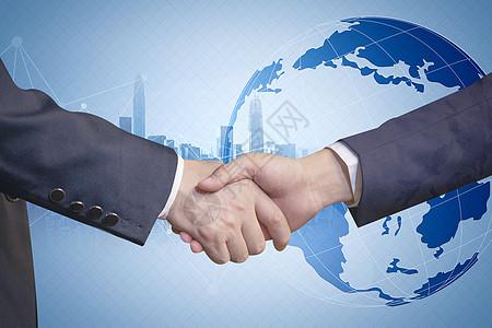 握手与世界地图图片