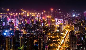 五彩缤纷的城市夜景图片