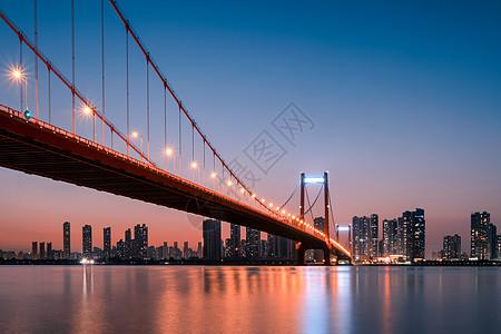 武汉黄昏鹦鹉洲长江大桥图片