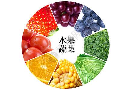 水果和蔬菜拼接的色彩图图片