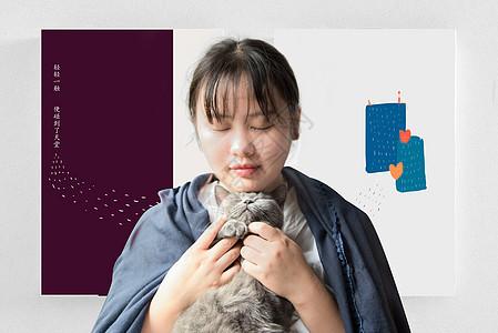 小清新书籍背景的抱着猫的美少女图片