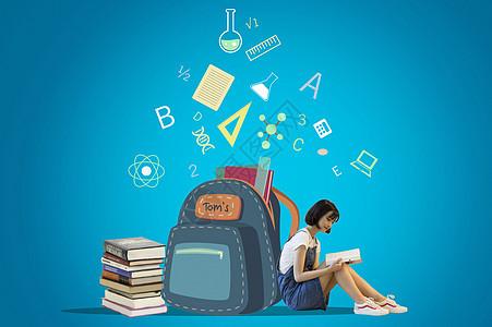 书包和读书的女孩图片