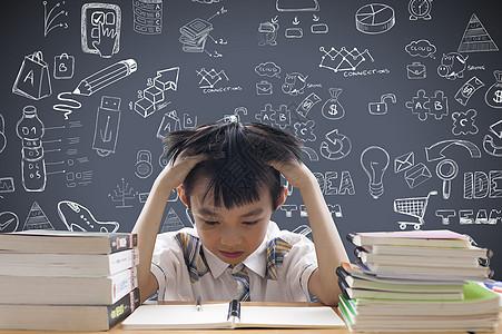 遇到学习问题的小孩图片