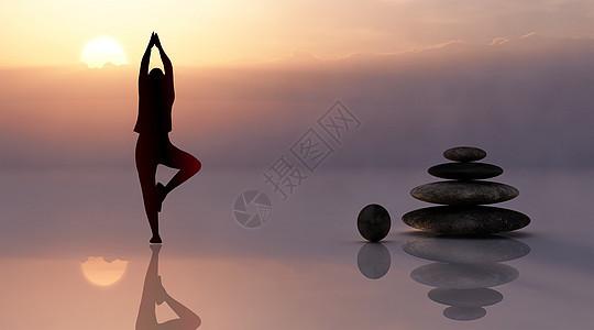 夕阳下瑜伽剪影图片
