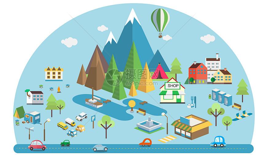扁平化互联网城市科技图片