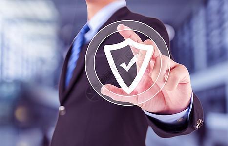 商人手压盾安全病毒网页按钮图标图片