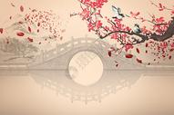 古风花鸟拱桥水墨山林背景图片