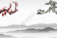 中国风梅花松树水墨山水背景图片