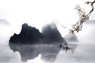 白梅花水墨山水渔船背景图片