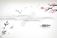 中国风水墨江边背景图片