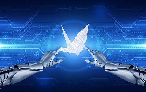 机器人折纸鹤图片