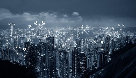 城市网络连接夜景图片