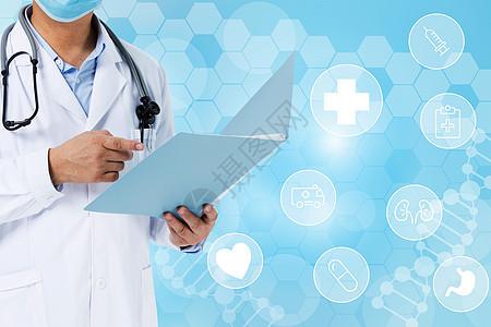 记笔记的医生与医疗图标图片