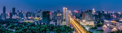 武汉城市夜景汉口中山大道全景图片