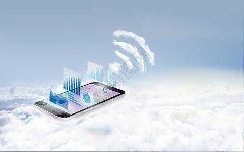 云端上的手机传播信息图片