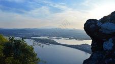 韩国济州岛城山日出峰观景台俯视唯美风景图片