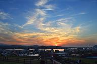 韩国城山日出峰观景台观日落图片