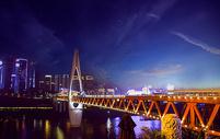 夜拍跨江大桥图片