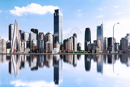 城市倒影背景素材图片