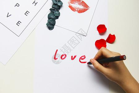 玫瑰花手写love情人节素材图片
