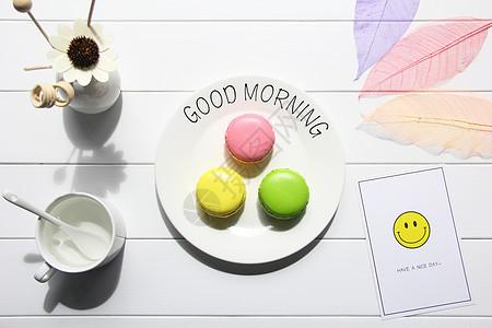 美味营养健康早餐马卡龙蛋糕图片