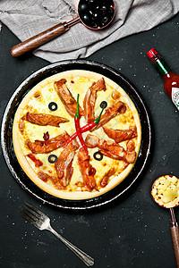 海报风芝士鸡肉披萨图片