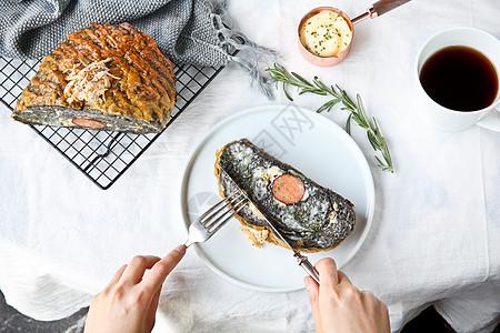 火腿创意面包餐桌美学图片