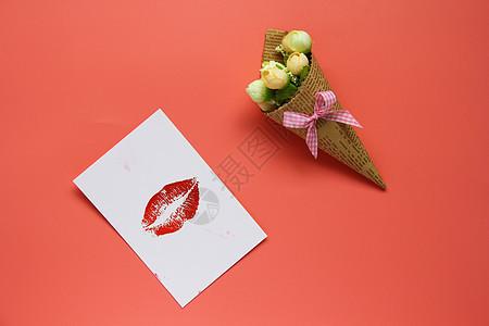 小花束卡片粉色背景图片