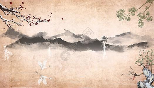 中国风水墨画背景图片