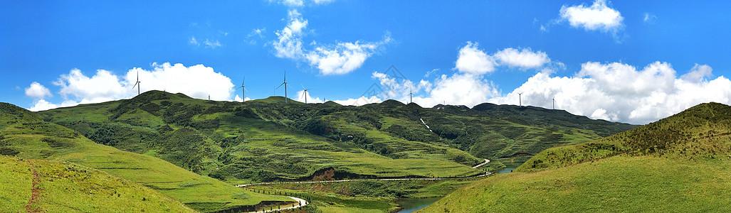 起伏的绿色山脉图片