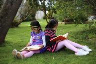 草丛中读书的女孩图片